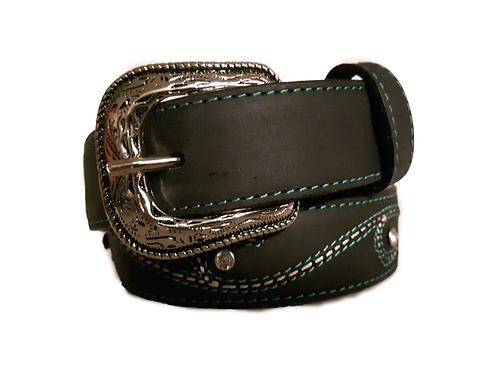 OK Corral Black Turquoise & White Stitched Gem Belt
