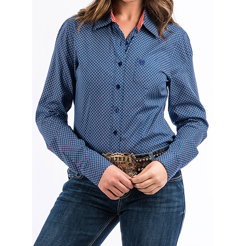 Cinch Blue with Red Polka Dot Western Shirt