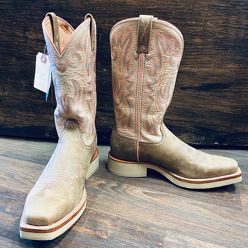 Twisted X Beige Blue & Peach Stitched Boot