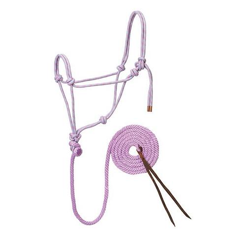 Weaver Diamond Braid Rope Halter & Lead - Lavender, Mint & Grey