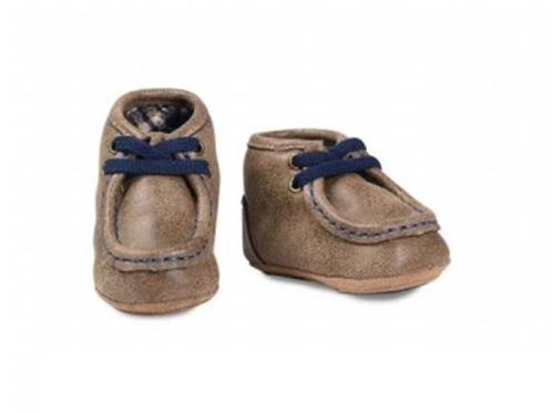 Baby Buckers Tan & Blue Lace Up Mocs