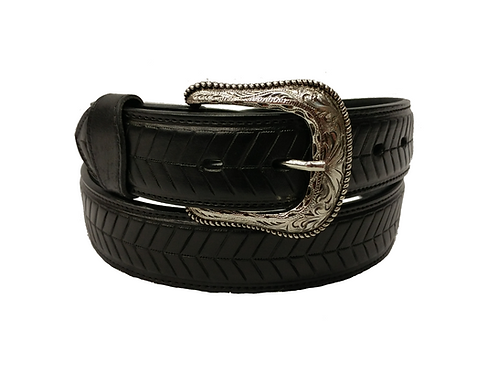 OK Corral Black Classic Patterned Belt