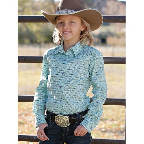 Cruel Girl Diamond Turquoise Western Shirt with Purple Snaps