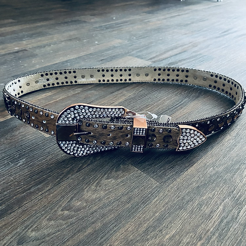 Brown Hair on Hide Belt with Square Copper Conchos