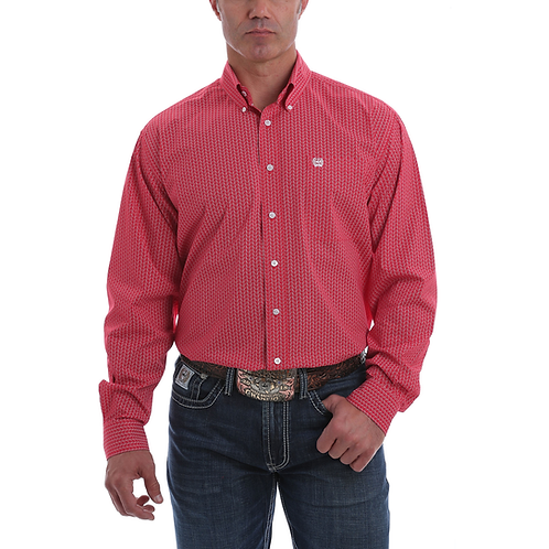 Men's Cinch Red & Wispy White Western Shirt