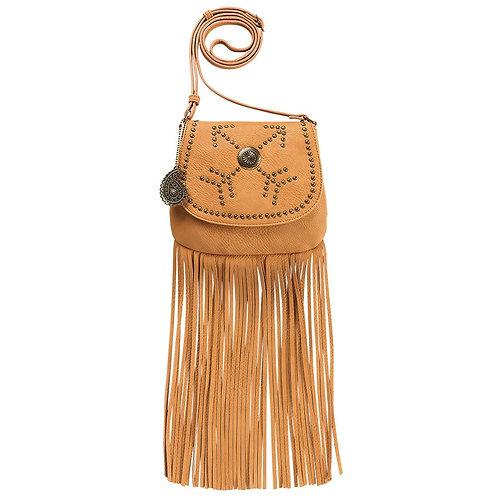 American West Golden Tan Austin Fringe Flap Bag