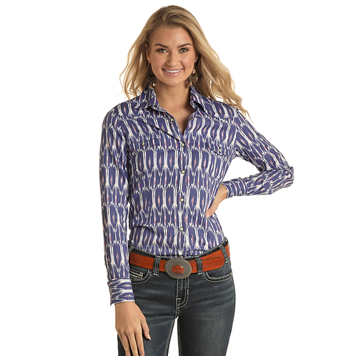 Ladies Panhandle Purple Ikat Pattern Western Shirt