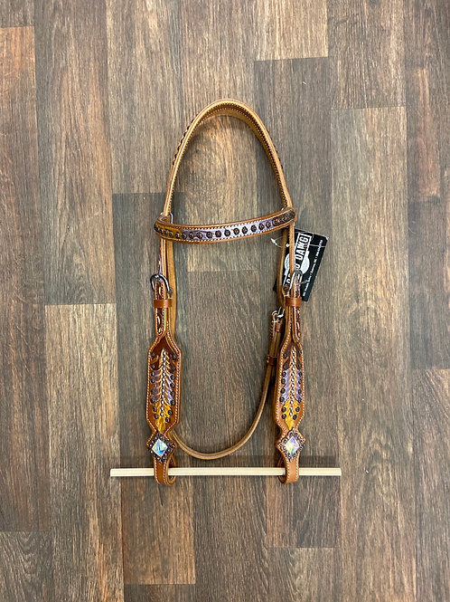 KGT  Purple & Gold Feather Browband