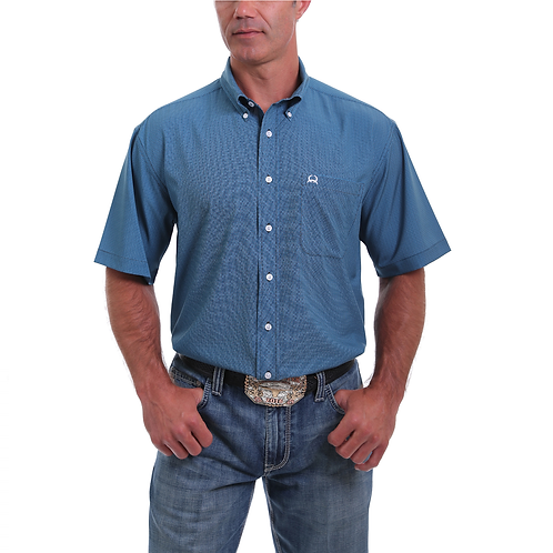 Men's Cinch Blue Weave Arenaflex Short Sleeve Western Shirt