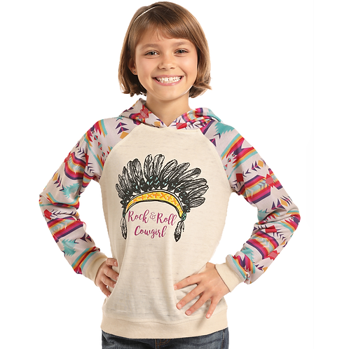Panhandle Cream Aztec Sleeved Sweater