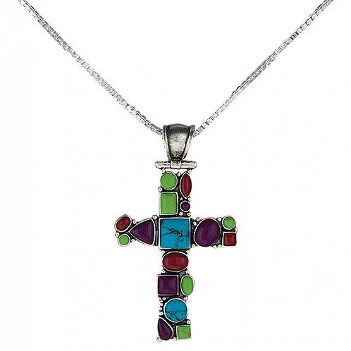 Montana Silversmith Multi Stone Cross Necklace