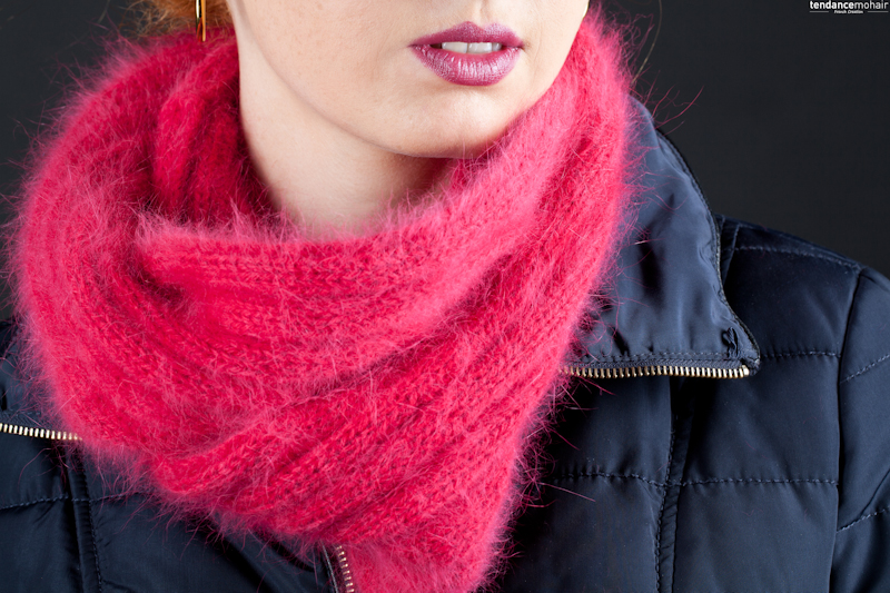 snood en angora tricoté main