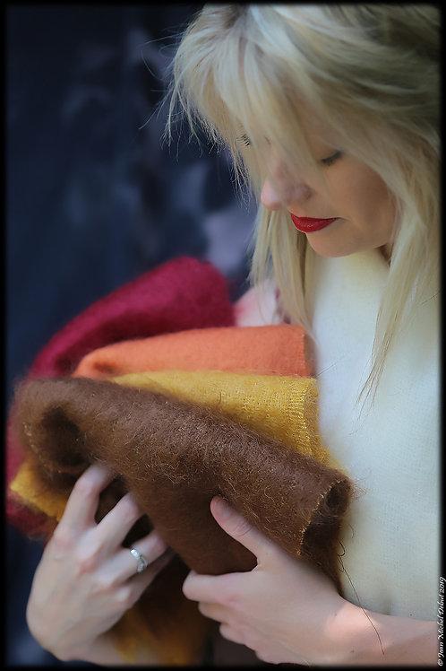 Petite écharpe mohair et soie tissée