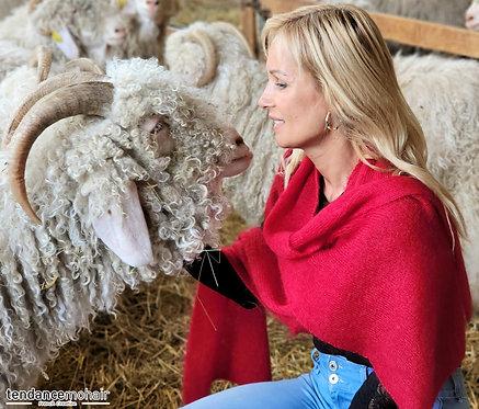 Grande écharpe  tricot 60 % Kid mohair et 40 % soie