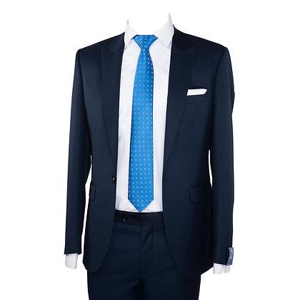 Cravate bleu motif carreaux et Pochette