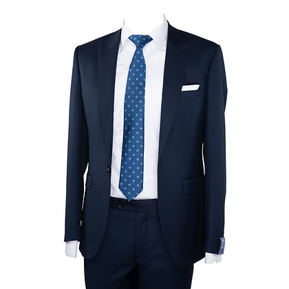 Cravate bleu marine motif carreaux