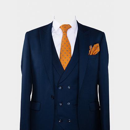 Cravate orange motif et Pochette