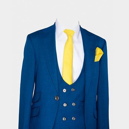 Cravate jaune avec pochette