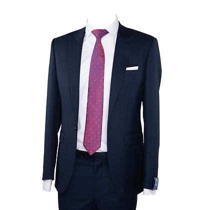Cravate violet motif point et Pochette
