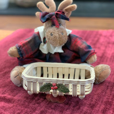 Woven Clay Basket with Holly