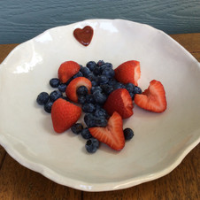 """""""Heart"""" bowl with blueberries and strawber"""