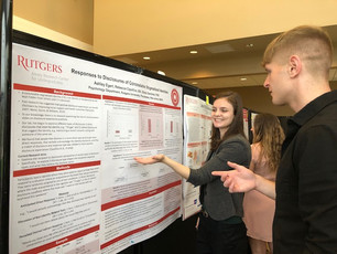 Ashley Egert presenting her Aresty Project on Disclosures at the Aresty Rutgers Undergraduate Research Symposium 2019. Grad Advisor R. Cipollina.