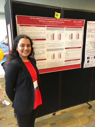 Hemisha Sangani presenting her Aresty Project on Identity Safety Cues at the Aresty Rutgers Undergraduate Research Symposium 2019. Grad Advisor: R. Cipollina.