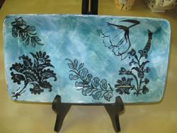 Rectangle Small Tray - blue Foliage