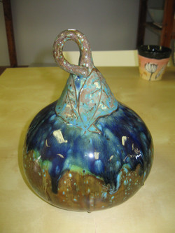 Gourd - painted multi-glazes
