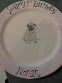 Birthday plate hug a pug!