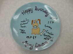 Birthday Plate - dog stencil