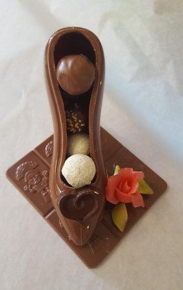 Chaussure chocolat lait ou noir garni S