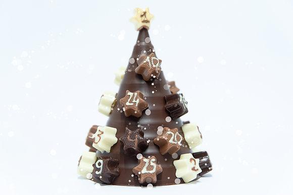 Calendrier de l'avent en chocolat noir  ou lait étoiles fourrées  3 gianduja