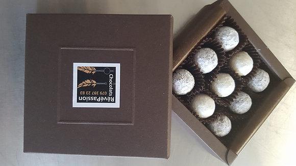 Boîte  carton mini truffes 9 pces Gewurztraminer, Vendanges Tardives