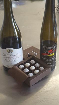 Boîte carton mini truffes 9 pces mélange (Pinot Noir, Gewurzstraminer,...
