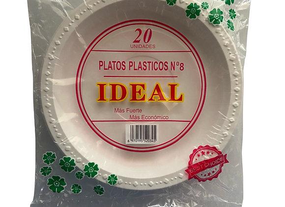 Platos Plasticos #8 Ideal 20 unidades