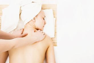 Beautiful young woman getting spa massag
