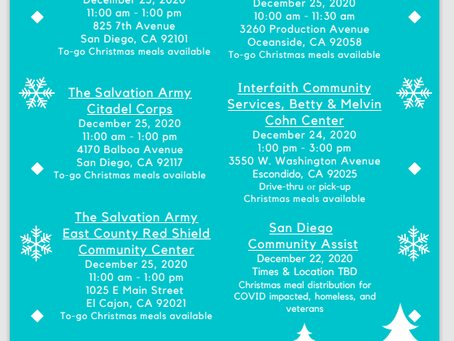 Free Christmas Meals San Diego 2020