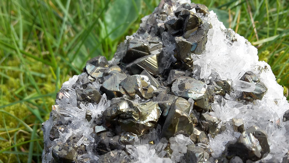 Chalcopyrite Crystals on Needle Quartz