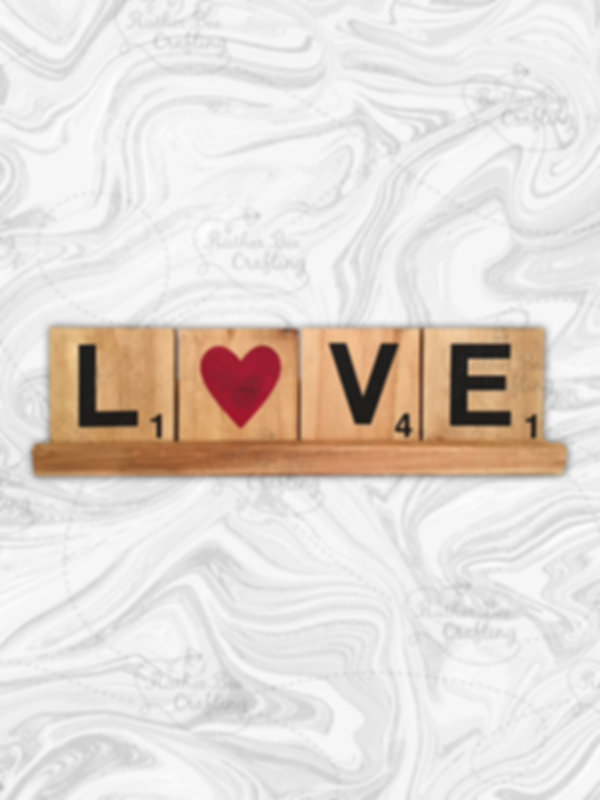 """Love with """"o"""" as a heart. 5.5"""" x 5.5"""" tiles with a 24"""" stand"""
