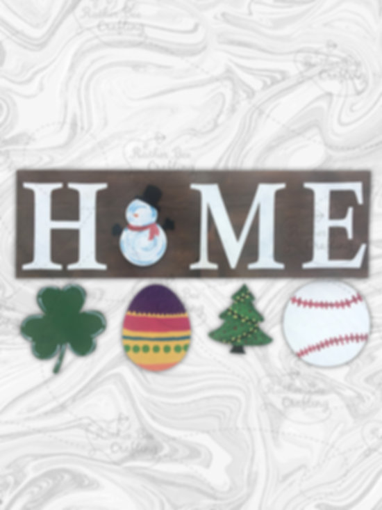 HOME, comes with the following pieces: Snowman, Shamrock, Egg, Christmas Tree, and Baseball