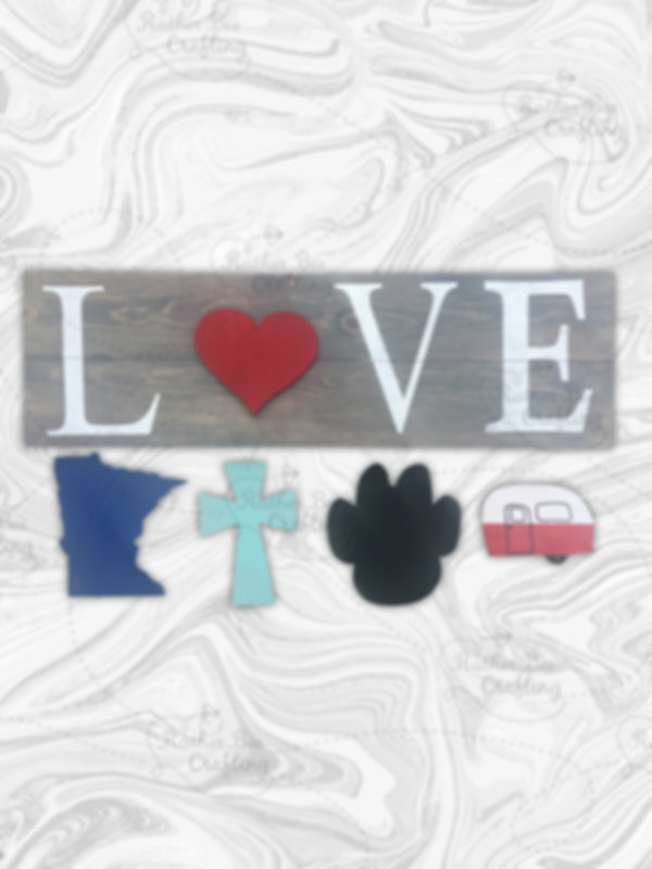 LOVE, comes with the following pieces: Heart, MN, Cross, Paw Print, and Camper