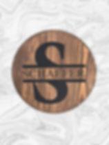 "15"" Round Split Monogram with custom family name"