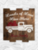 """Loads of love lives here Vintage truck with hearts. Family name. 14"""" x 14"""""""