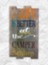 Life is better at the....finish the sentence with camper, lake, cabin, pool, bonfire, etc. Please enter family name