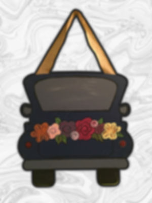 """Vintage Truck with Flowers 16"""" Design"""