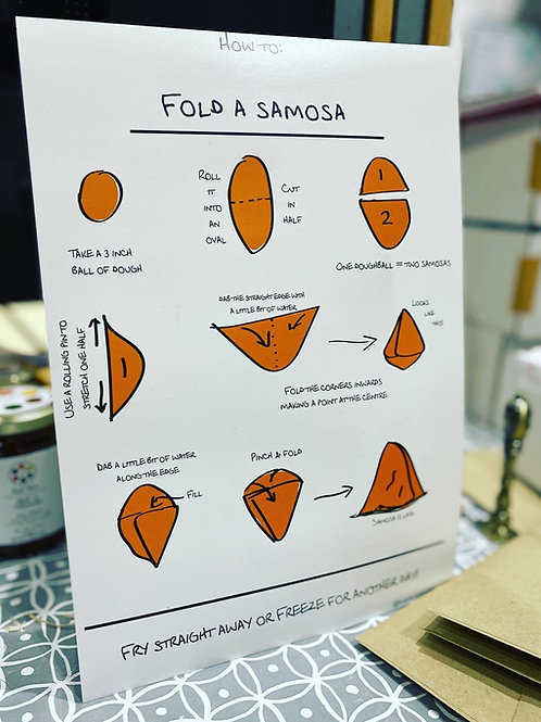 How to fold a samosa A4 print