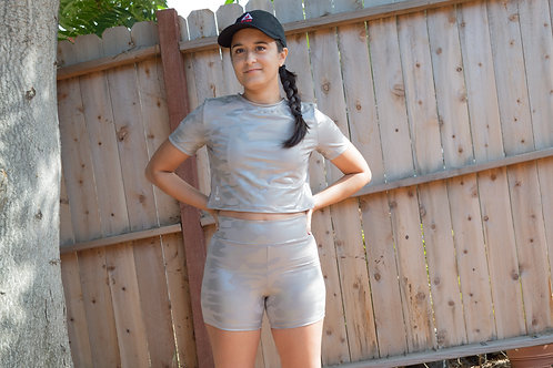 Camo Shorts (Light Taupe with silver accents)