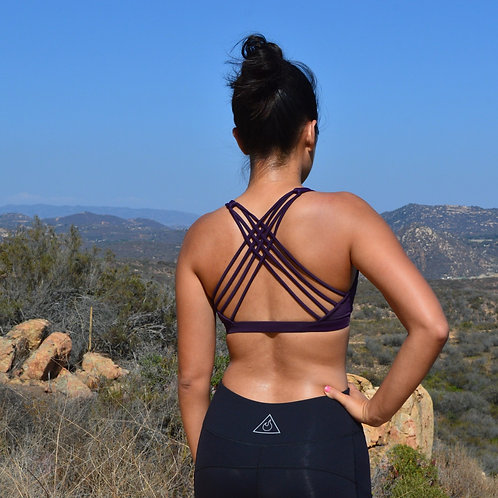 Criss Cross Sports Bra (Deep Plum)