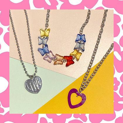 LoveHeart Butterflies Necklace